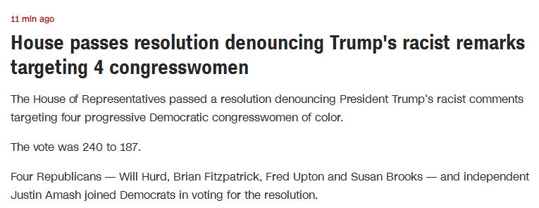 240:187!美众院通过决议 谴责特朗普对4名女议员发