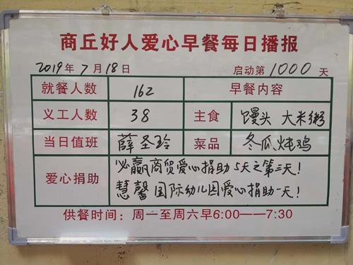 """""""商丘好人""""爱心早餐项目启动1000天"""