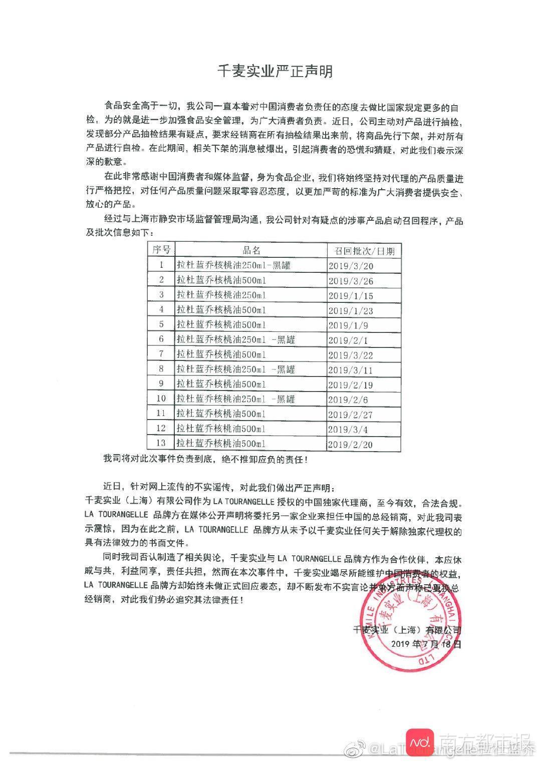 【自曝含塑化剂的杜拉蓝乔代理商启动召回程序 召回名单如下:】 杜拉蓝乔