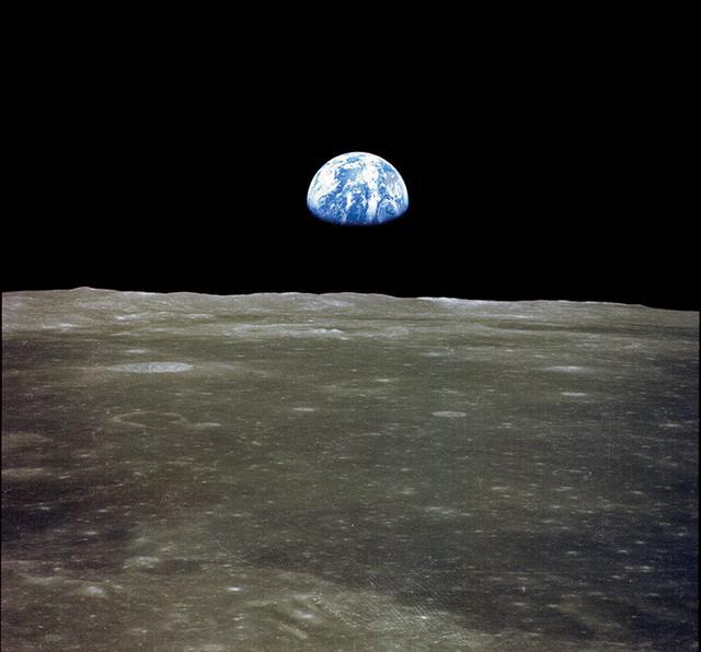 月球背面图片_阿波罗登月是真是假?NASA公布地球从月球升起照片,证据确凿 ...