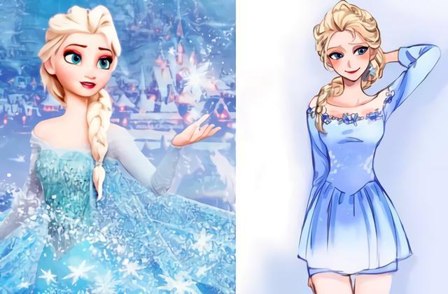当失去公主裙的迪士尼公主们穿上现代装,艾莎短裙装令人着迷