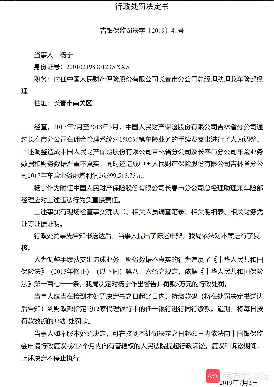 调整车险手续费支出虚增利润 中国人保财险长春分公司高管被罚