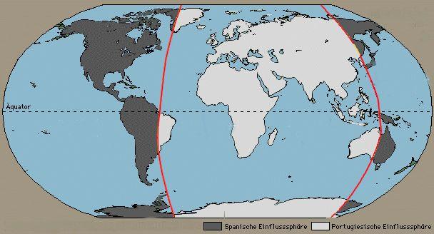 西班牙和葡萄牙达成瓜分新世界的协议图片