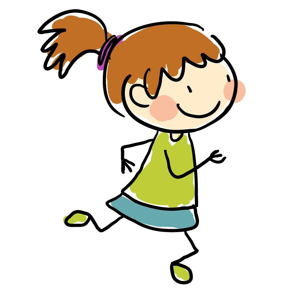 卡通手绘简笔画跑步的女孩图片