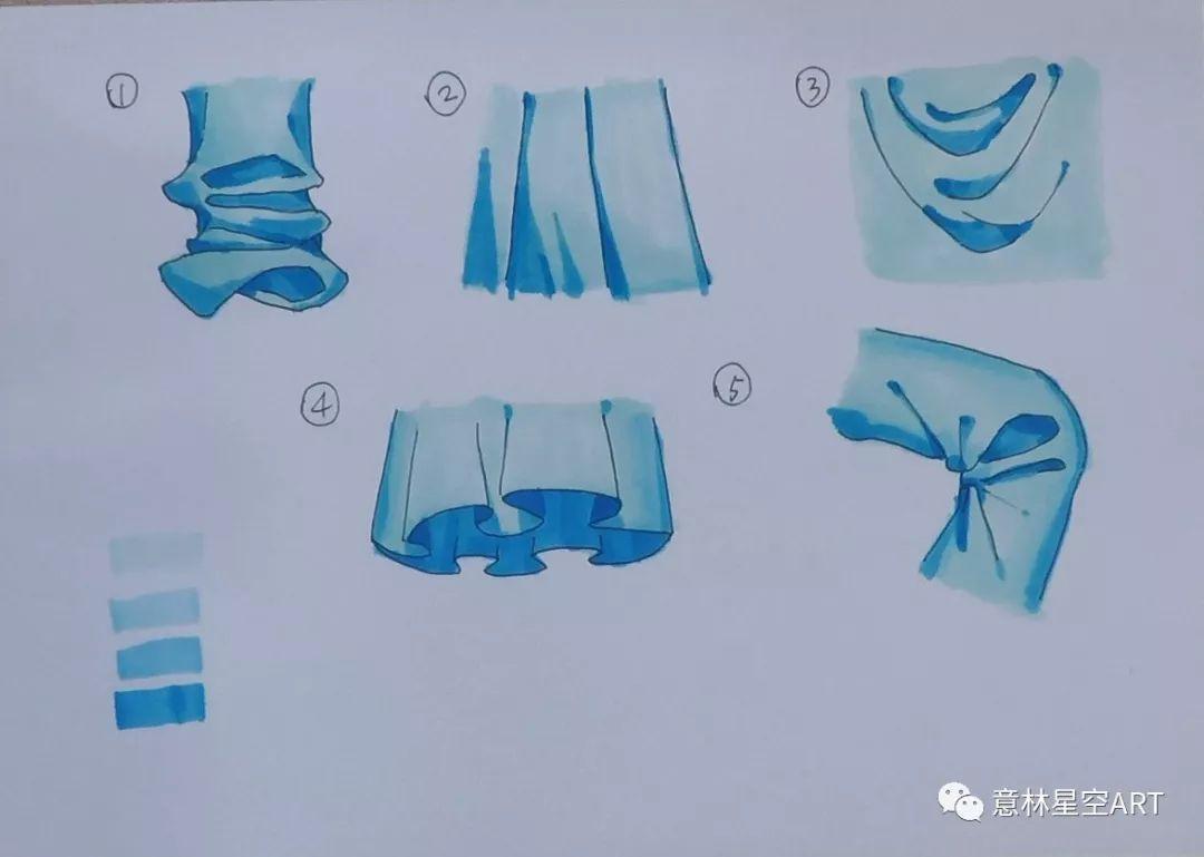 教程 人物衣服细节 马克笔画出的服装褶皱