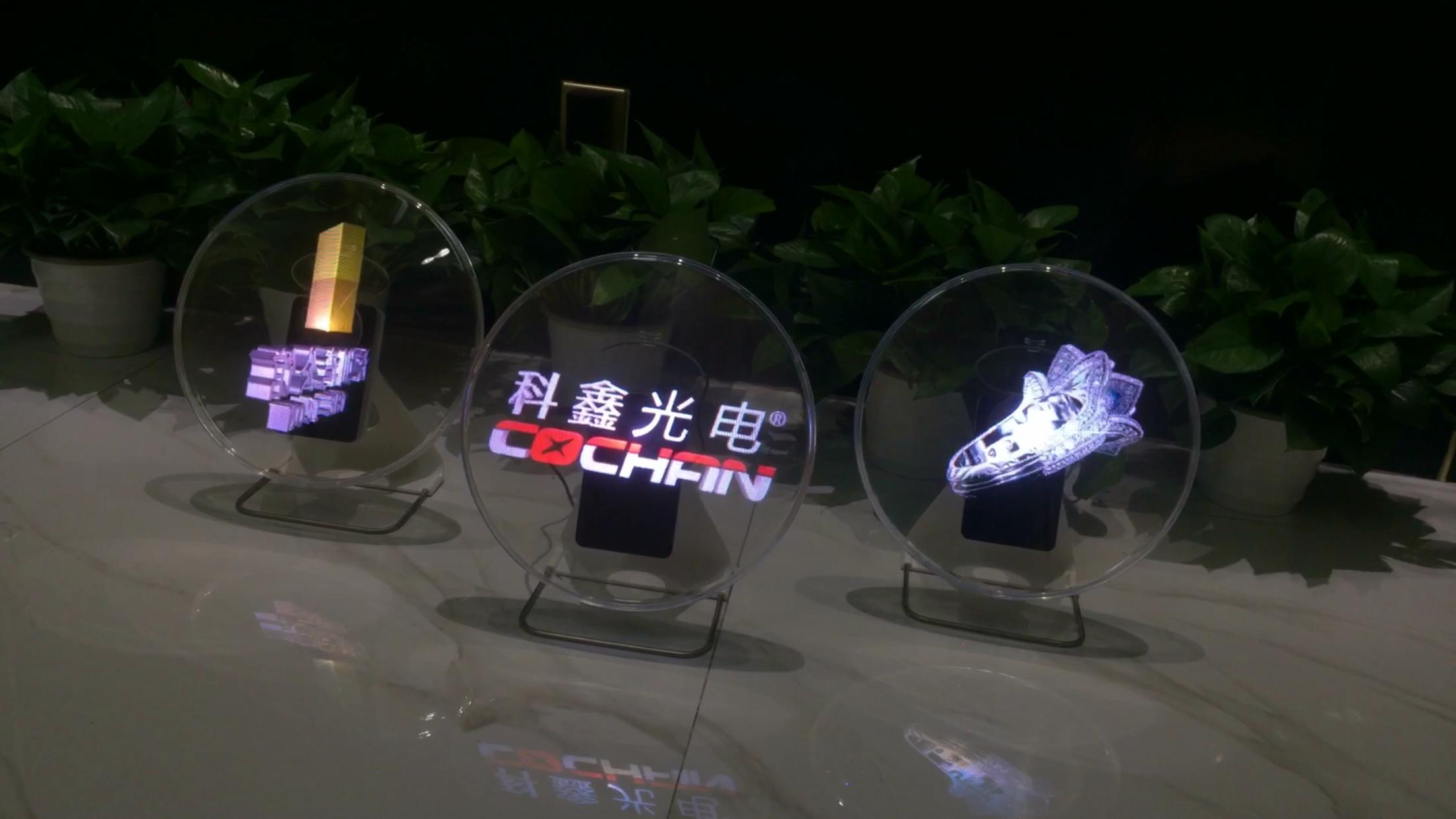 Mini全息透明led圆镜屏,自带传媒和装饰属性!
