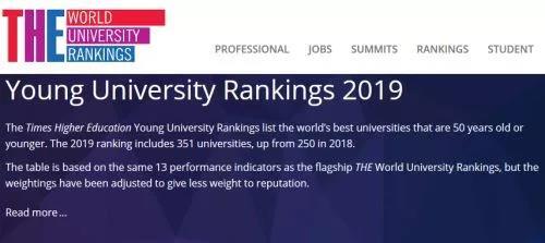 最新!泰晤士2019年轻大学榜单:香港科技大学蝉联魁首!英国入围数最多!