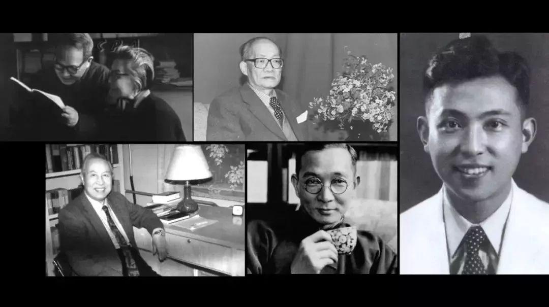 人与人和谐相处囹�a_左上:钱钟书,杨绛;左下:王佐良;左中上:许国璋;左中下:林语堂,右:查良