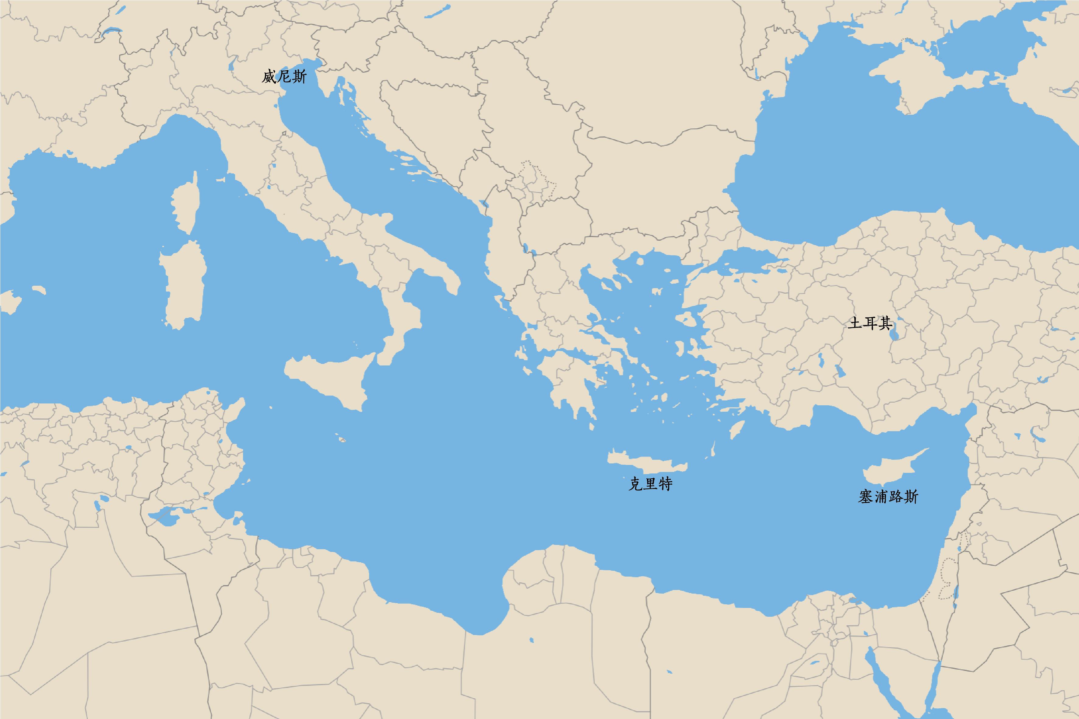 克里特、塞浦路斯位置图,底图来源:google地图图片