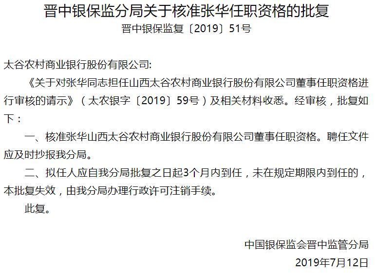 山西太古农村商业银行董事张华任职资格获批_晋中