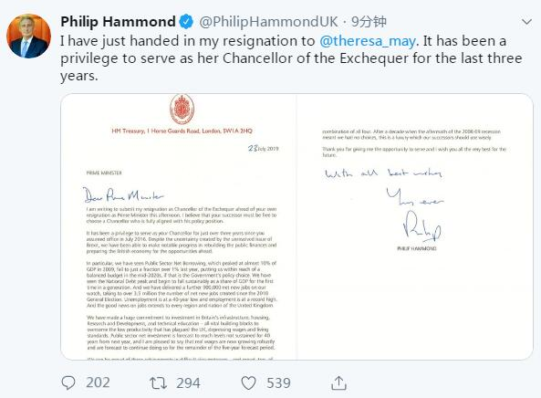 约翰逊正式接任英国首相前,财政大臣宣布辞职