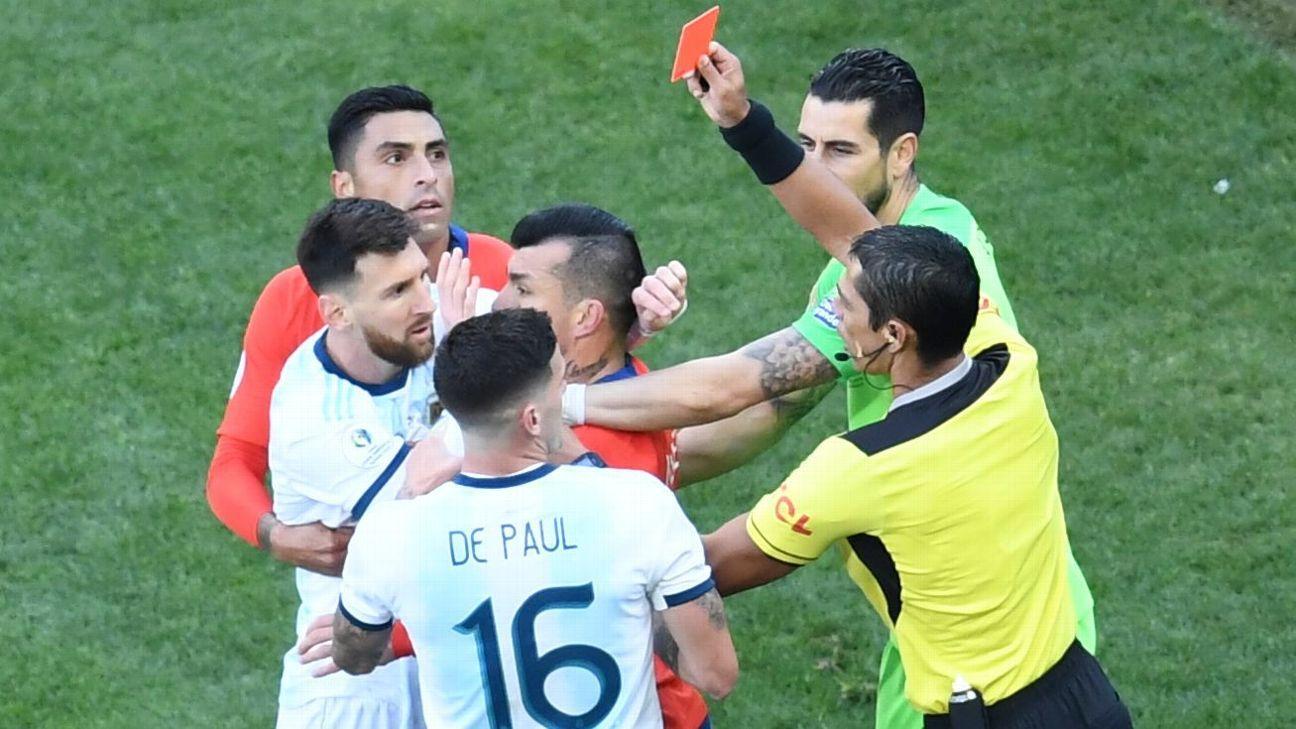 梅西美洲杯红牌处罚结果:停赛一场,罚款1500美元!