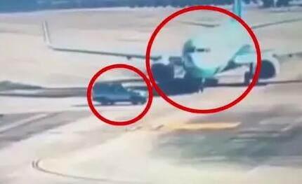 福州SUV险撞飞机 谁的SUV这么牛进入停机坪?