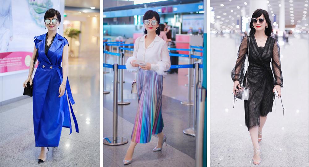 赵雅芝65岁年纪,私服搭配依旧小清新,蓝白套裙穿出奶奶辈新潮流