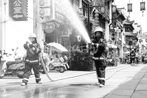 屯溪老街演练消防