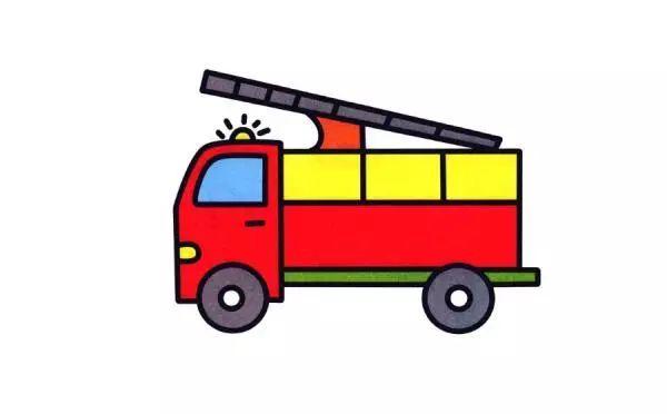 彩色消防车简笔画画法 怎么画彩色消防车的简笔画 简笔画大全 儿童简