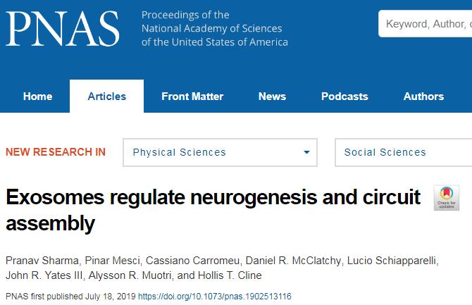 PNAS:神经外泌体具有修复受损脑细胞的潜力
