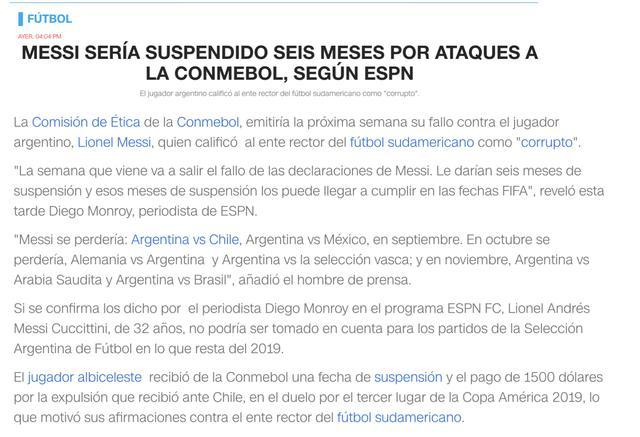 梅西禁赛6个月?巴萨和潘帕斯雄鹰很开心 阿根廷足协成唯一受害者