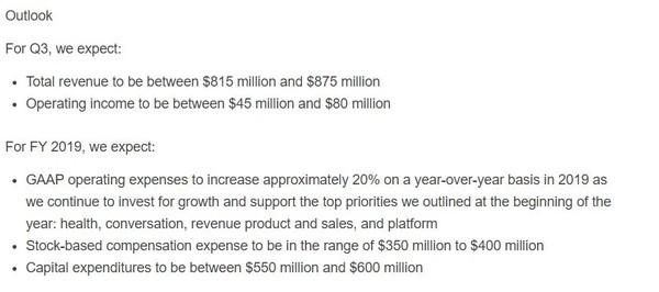 Twitter公布2019年Q2财报 总收入8.4亿美元广告占大头