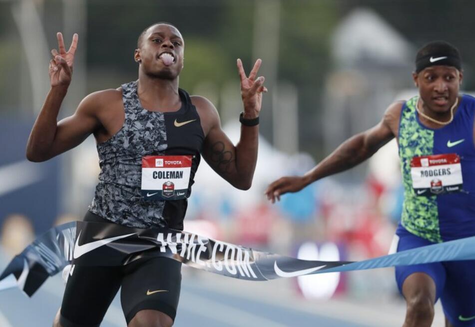 美国全锦赛科尔曼百米9秒99夺冠 加特林决赛退赛