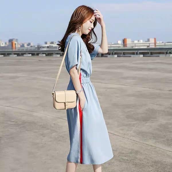 Solid color mini dress