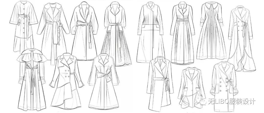 女装大衣外套设计开发 款式图线稿 海量成衣一次喂饱你