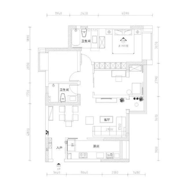 108㎡现代美式三居室,背景墙和收纳柜蓝白搭配,清新又漂亮!