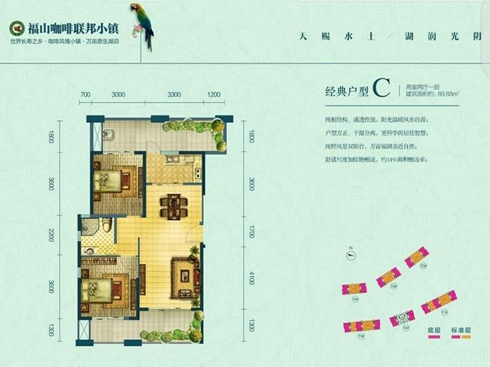 福山咖啡联邦小镇项目建筑面积约89平两房两厅样板实景图赏析