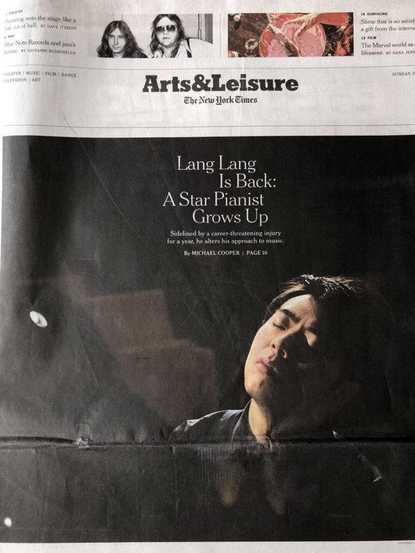 国人之光!郎朗登上纽约时报有史来最大艺术头版封面