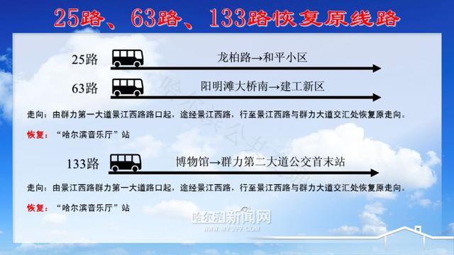 哈尔滨公交25路、63路、133路、220路恢复原线路