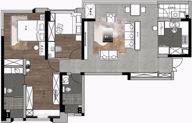 119㎡大横厅三居室,精致实用且轻奢舒适!