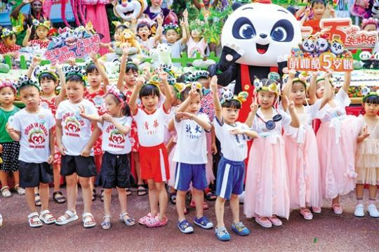 """全球唯一大熊猫三胞胎""""萌帅酷""""5岁了!"""