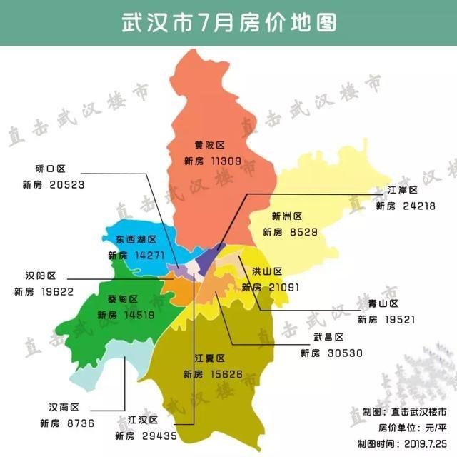 武汉7月房价地图出炉!这个远城区房价竟然已经7连降了