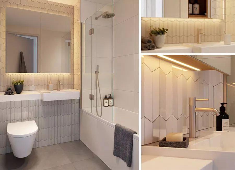 瓷砖装饰在浴室墙壁上,并以美丽的配置排列.