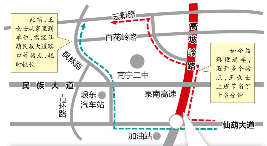 好消息!南宁高坡岭路通车 仙葫到凤岭北不用再挤民族大道