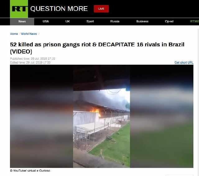 巴西一监狱帮派暴动:造成52人死亡,其中16人被斩首
