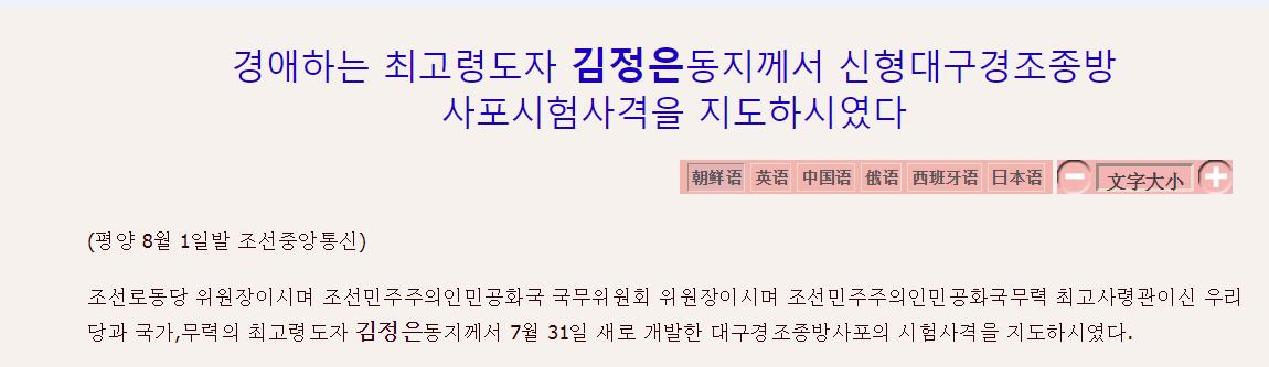 朝中社:金正恩指导新研制的大口径控制火箭炮试射