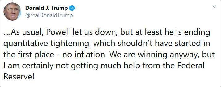 降息后美股不涨反跌,特朗普:鲍威尔一如既往地让人失望