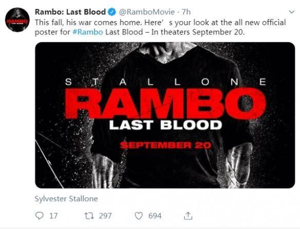《第一滴血5:最后的血》正式海报 最新剧照公开
