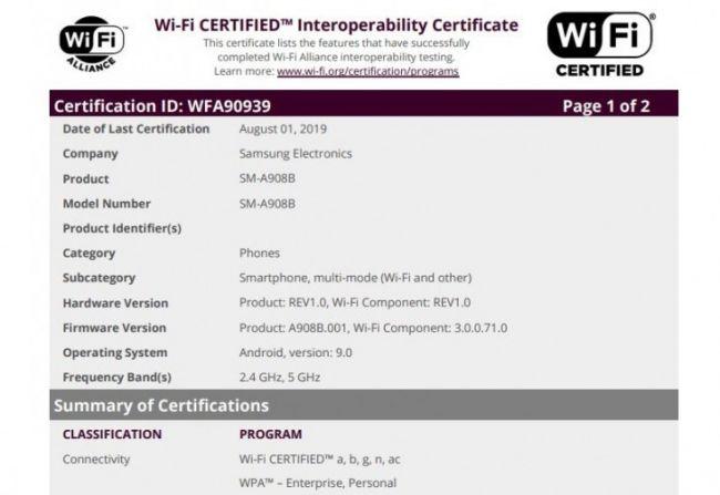 三星A90 5G版现身WiFi联盟 骁龙855处理器搭配4800万像素主摄