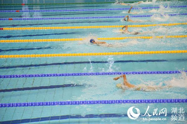 军运会游泳测试赛在武汉体育中心开幕