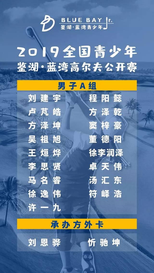 蓝湾青少年公开赛参赛名单出炉 女子A组好手云集