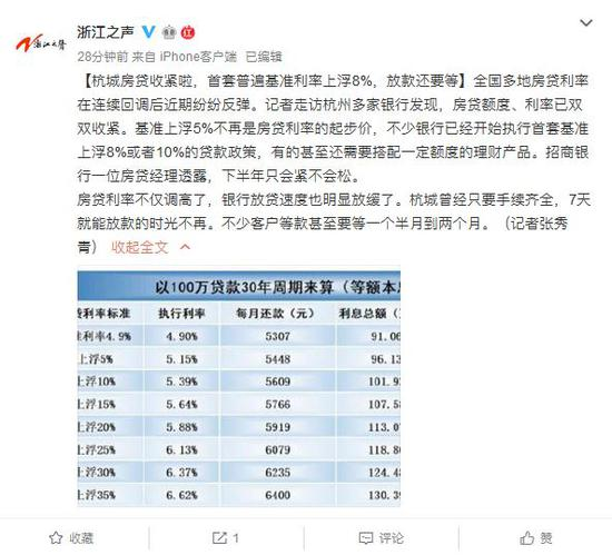 杭州房贷收紧:首套普遍基准利率上浮8% 放款还要等