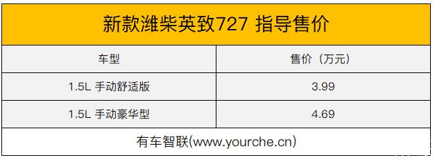 新款柴蔚英姿727售价3.99万-4.69万元
