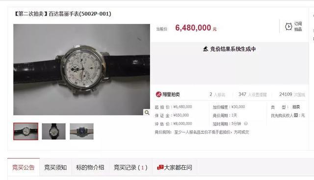 648万元!仅有一人出价,这块贪官手表底价成交了