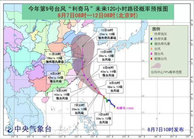 """注意!台风""""利奇马""""预计9日夜里影响我县"""