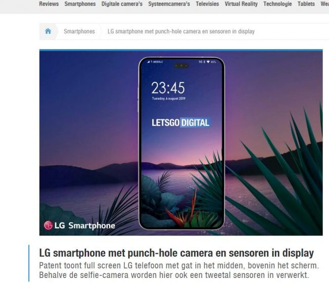 LG打孔屏全新专利曝光 前置镜头和两个传感器居中分布