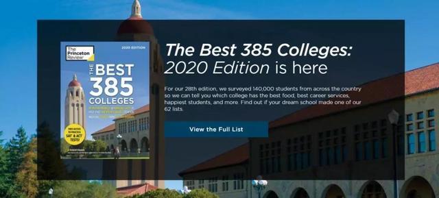 2020《普林斯顿评论》最佳大学排名&专业发布!