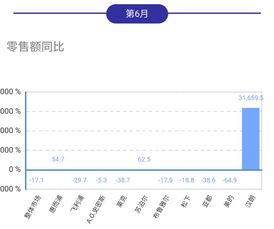 6月空净线下市场同比下行,汉朗、苏泊尔、惠而浦逆势增长