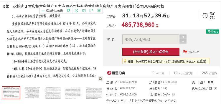 4.8亿元起拍!停工4年的重庆佳程广场下月司法拍卖